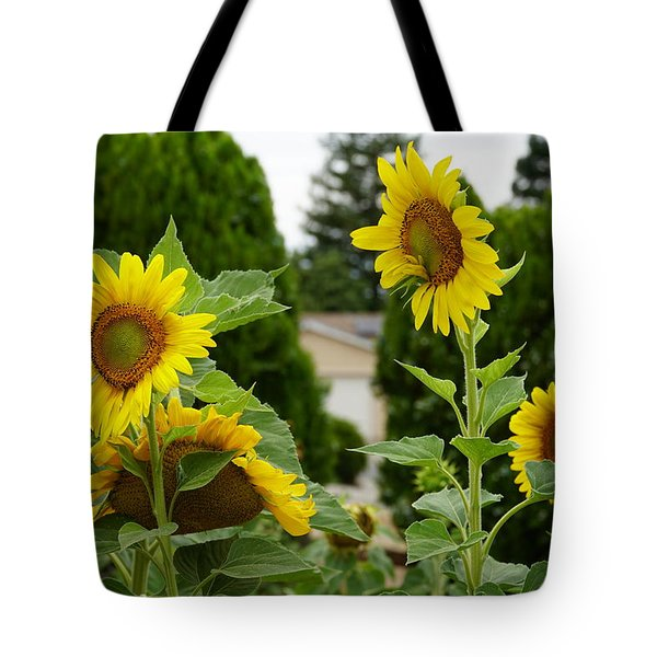 Conversing Sunflowers Tote Bag