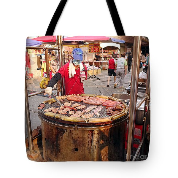 Tote Bag featuring the photograph Cooking Meat And Eggs On A Huge Grill by Yali Shi
