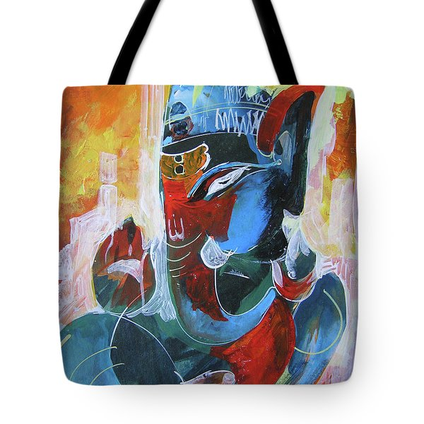 Cool And Graphical Lord Ganesha Tote Bag by Chintaman Rudra