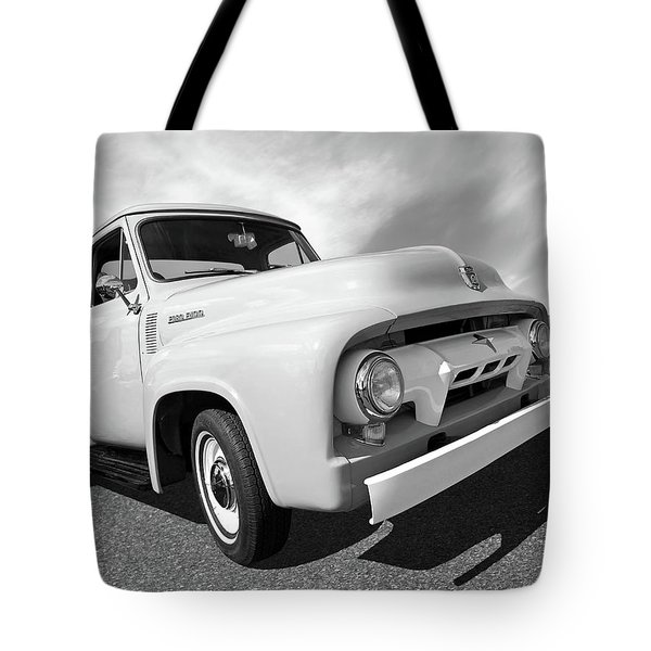 Cool As Ice - 1954 Ford F-100 In Black And White Tote Bag
