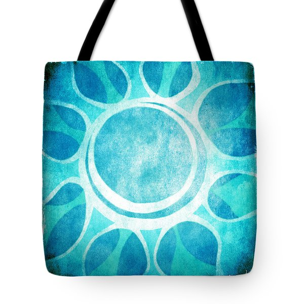 Tote Bag featuring the digital art Cool Blue Flower by Lenny Carter