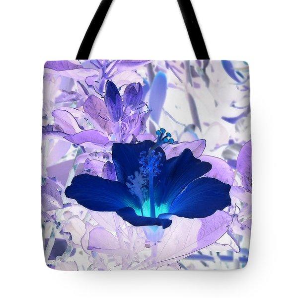 Cool Blue Hawaiian Hibiscus Tote Bag