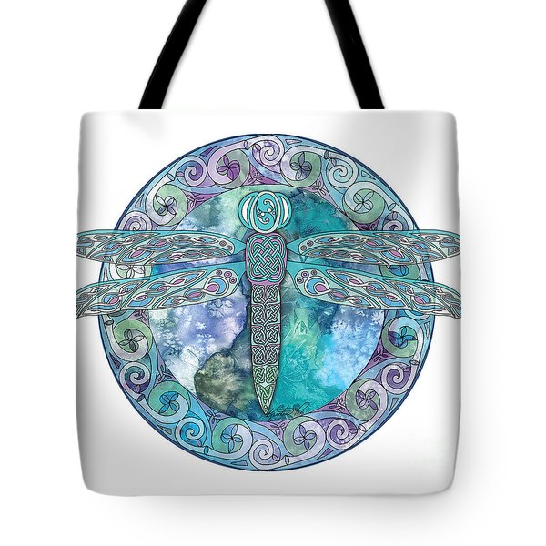 Tote Bag featuring the mixed media Cool Celtic Dragonfly by Kristen Fox