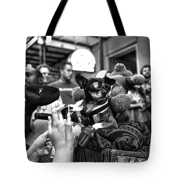 Cool Dog On Bourbon Street Mono Tote Bag by John Rizzuto