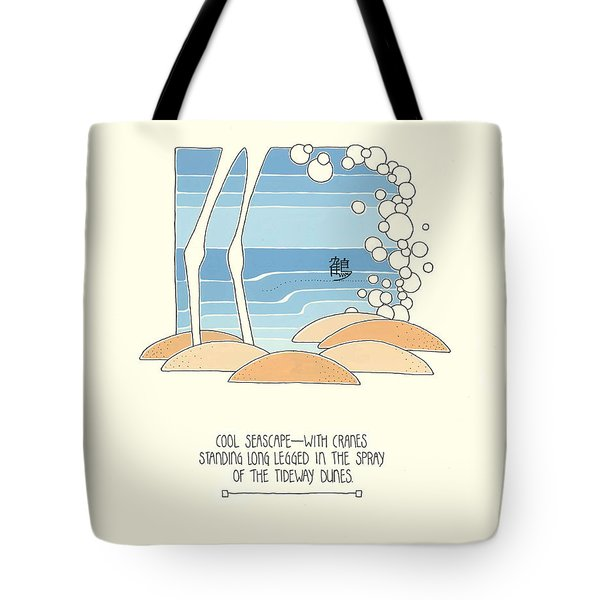 Cool Seascape With Cranes Tote Bag