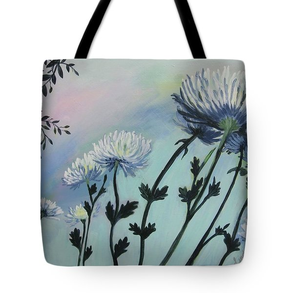 Cool White Spider Mums Tote Bag