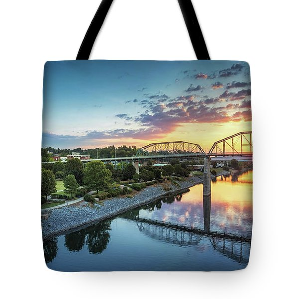 Coolidge Park Sunrise Panoramic Tote Bag