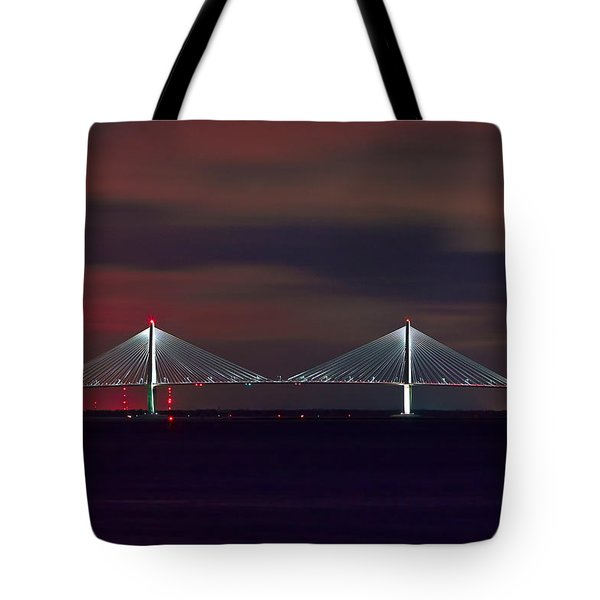Tote Bag featuring the photograph Cooper River Bridge At Night by Ken Barrett