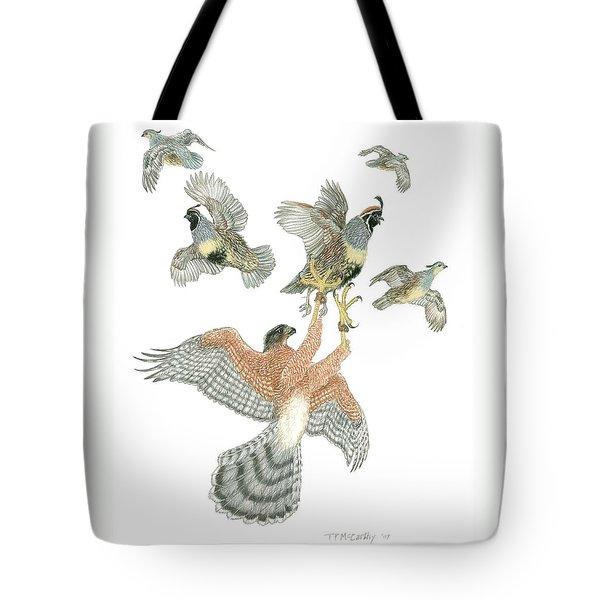 Cooper's Hawk And Gambels Quail Tote Bag by Tim McCarthy