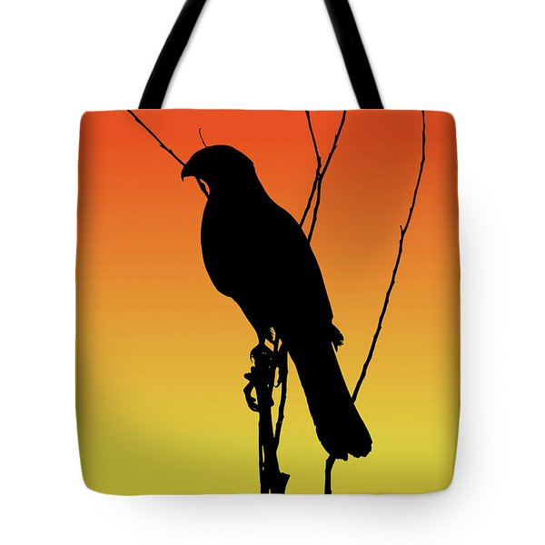 Coopers Hawk Silhouette At Sunset Tote Bag