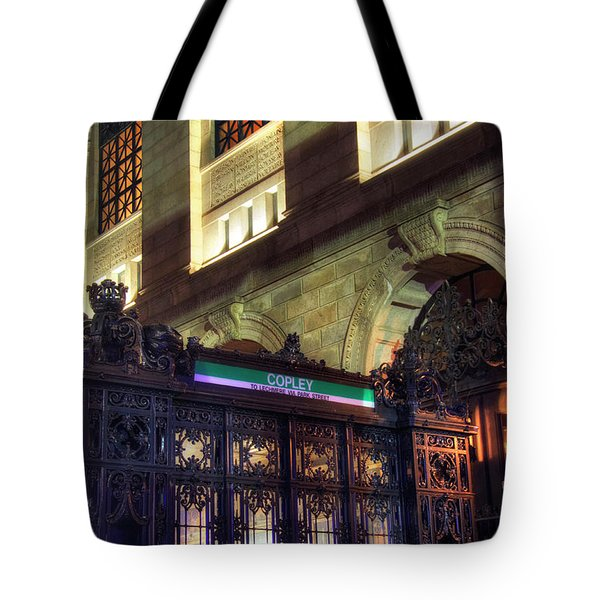Tote Bag featuring the photograph Copley Square T Stop - Boston by Joann Vitali