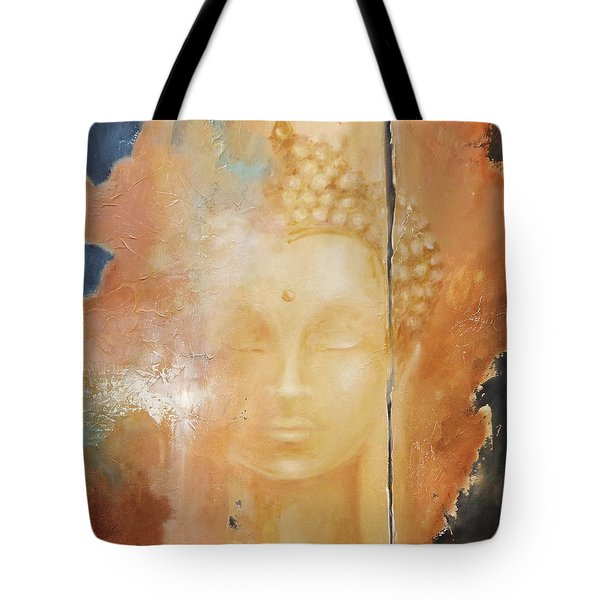 Tote Bag featuring the painting Copper Buddha by Dina Dargo