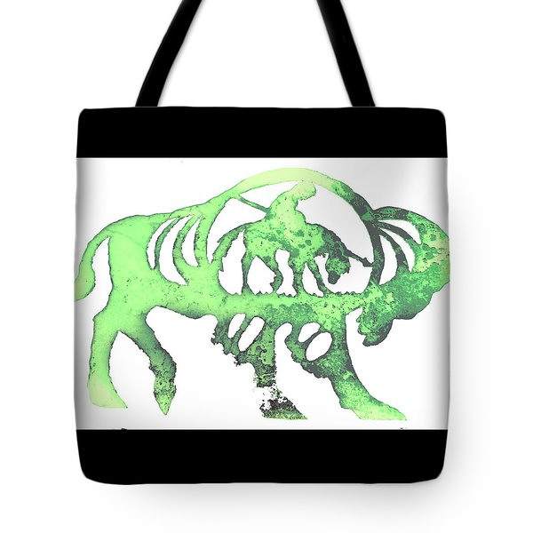Tote Bag featuring the pyrography Copper Buffalo by Larry Campbell