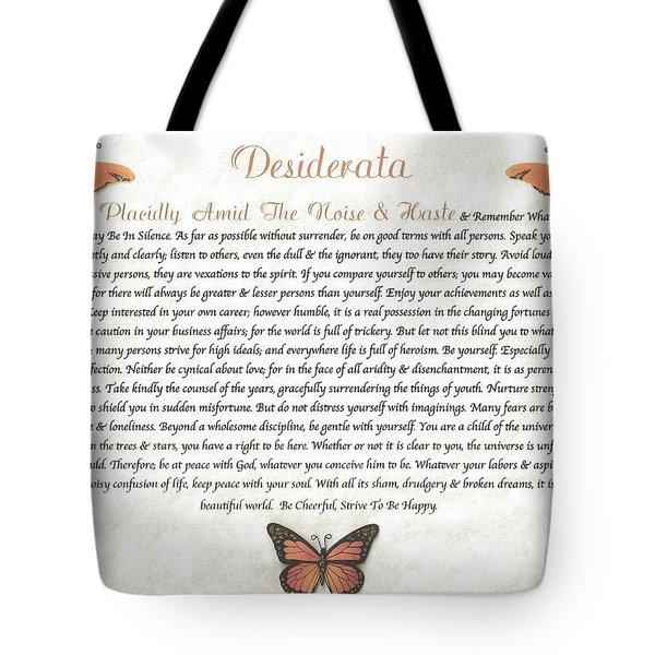 Copper Butterfly Desiderata Tote Bag