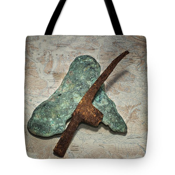 Copper Nugget Rock Hammer And Map Tote Bag