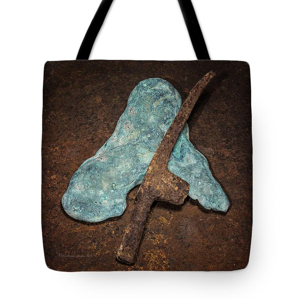 Copper Nugget Rock Hammer Tote Bag