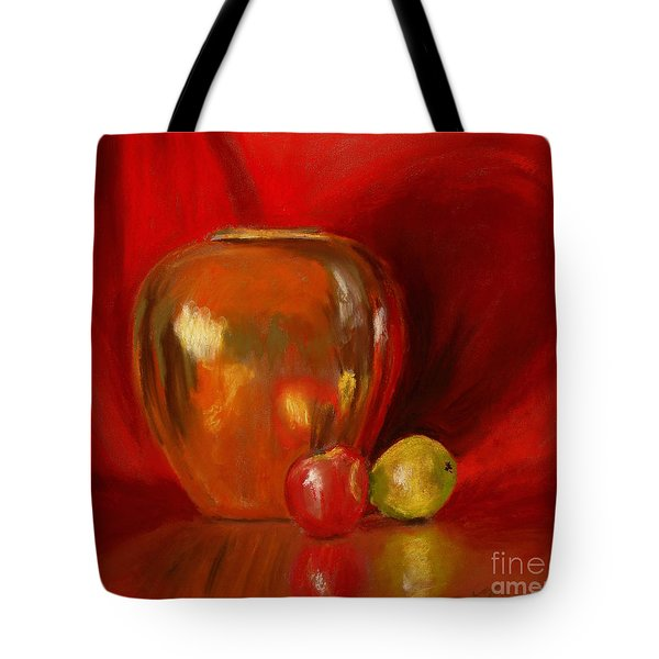 Copper Pot And Fruit Tote Bag by Mary Benke