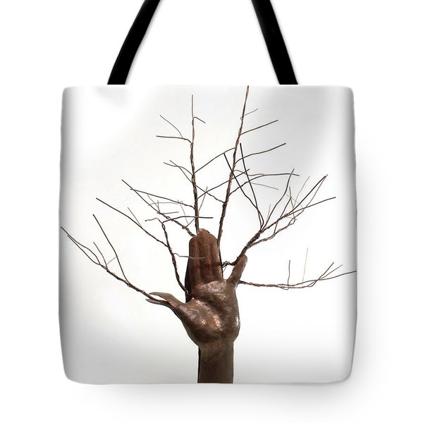 Copper Tree Hand A Sculpture By Adam Long Tote Bag by Adam Long