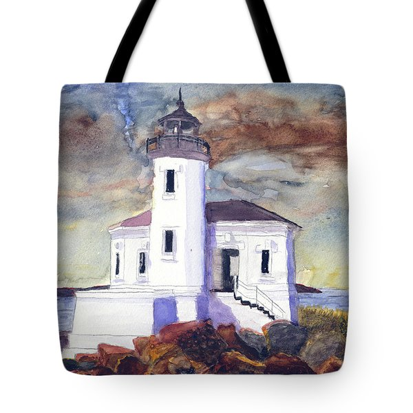 Coquille Lighthouse Watercolor Tote Bag
