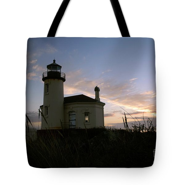 Coquille River Lighthouse At Sunset Tote Bag