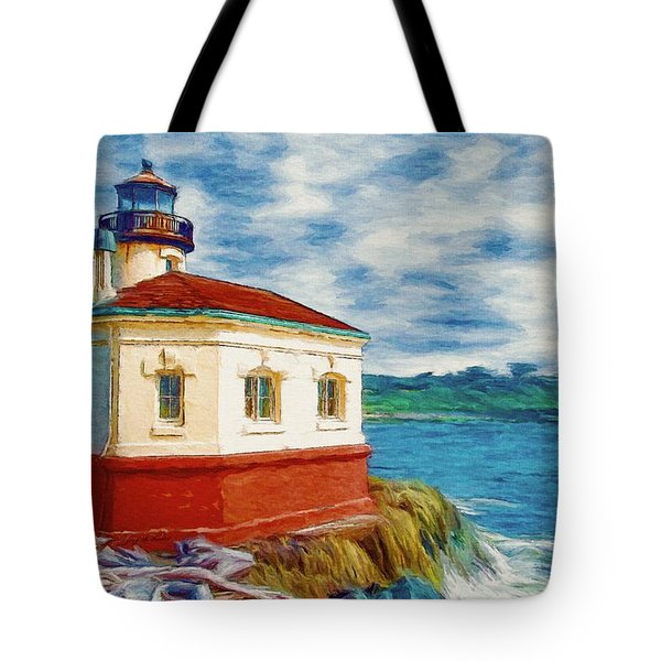 Tote Bag featuring the painting Coquille River Lighthouse by Jeff Kolker