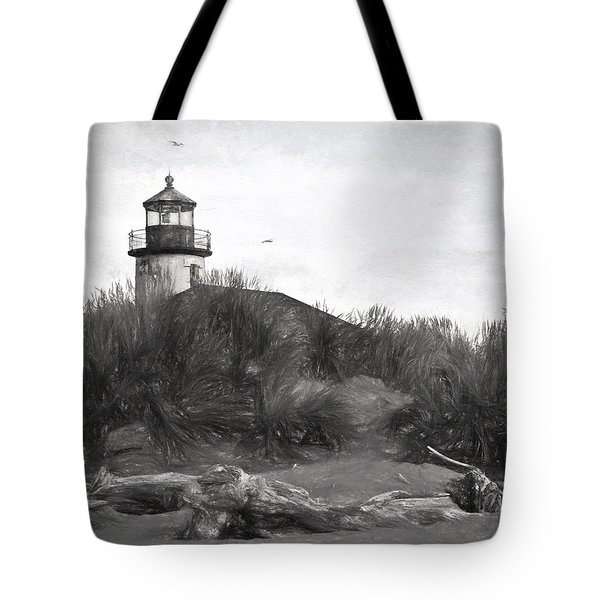 Coquille River Lighthouse Oregon Black And White Giclee Art Print Tote Bag