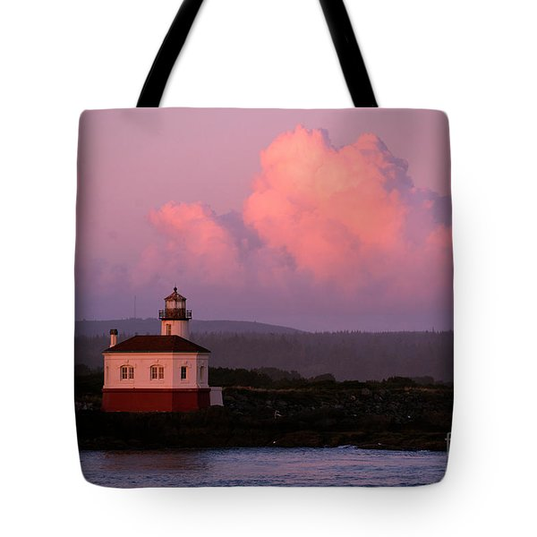 Coquille River Lighthouse Sunset Tote Bag