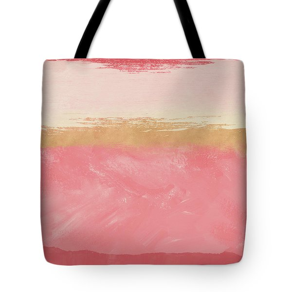 Coral And Gold Abstract 2- Art By Linda Woods Tote Bag