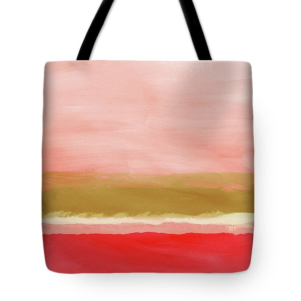 Coral And Gold Landscape- Art By Linda Woods Tote Bag