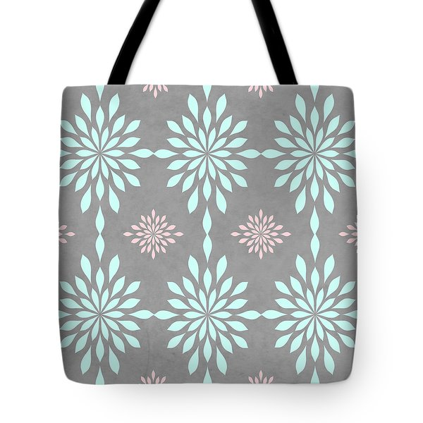 Coral And Turquoise Gray Tote Bag
