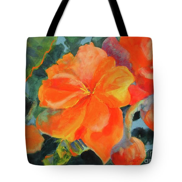 Tote Bag featuring the painting Coral Begonias by Kathy Braud