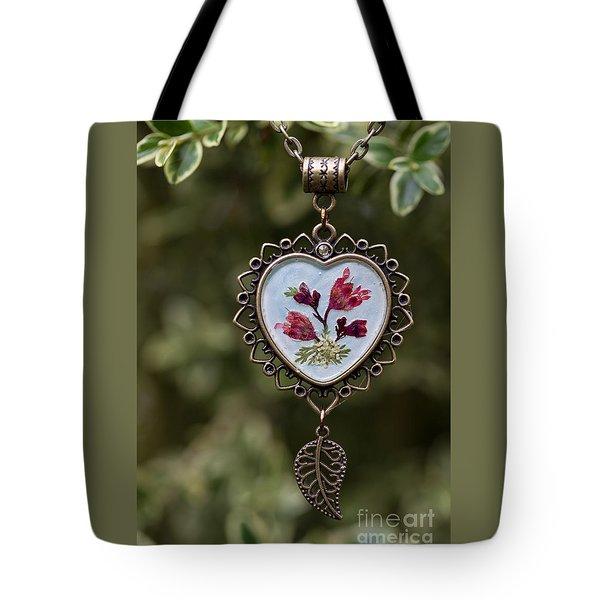 Coral Bell Pressed Flower Pendant Tote Bag
