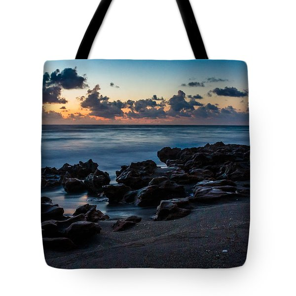 Coral Cove At Sunrise Tote Bag by Darleen Stry