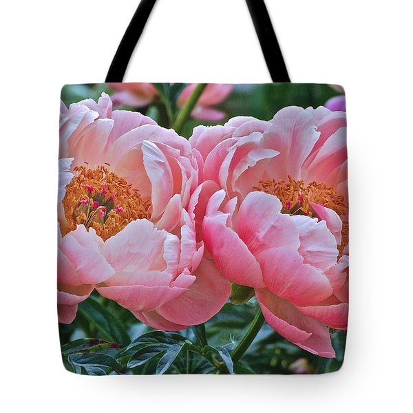 Coral Duo Peonies Tote Bag