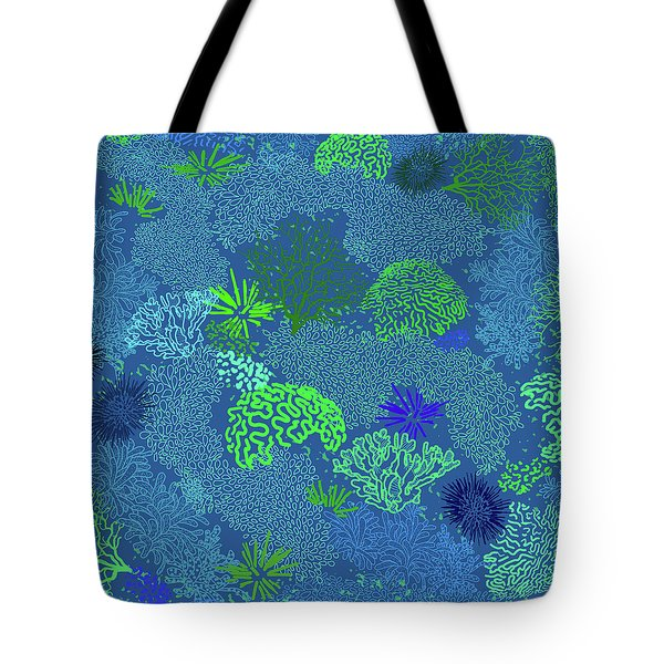 Coral Garden Blues And Greens Tote Bag