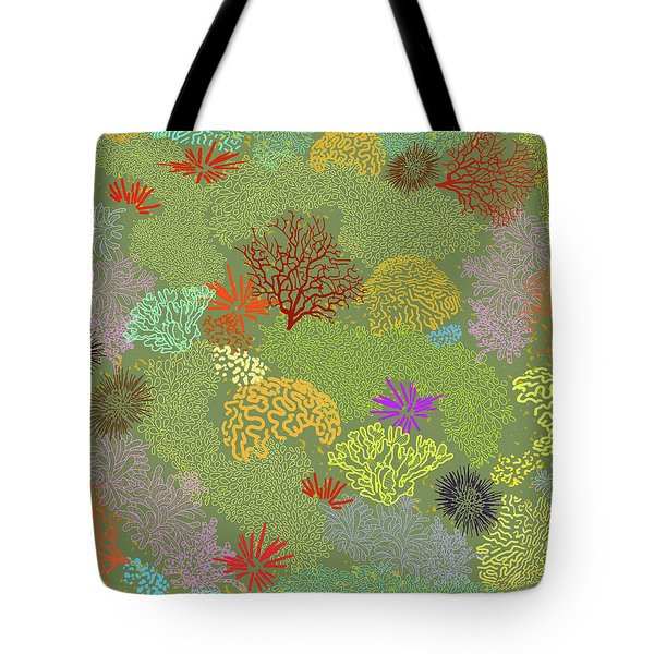 Coral Garden Olive Multi Tote Bag