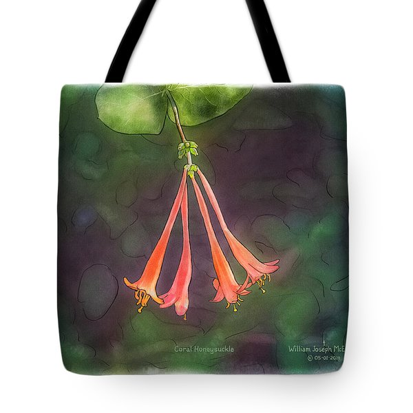 Coral Honeysuckle Tote Bag