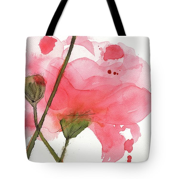 Tote Bag featuring the painting Coral Poppies by Dawn Derman