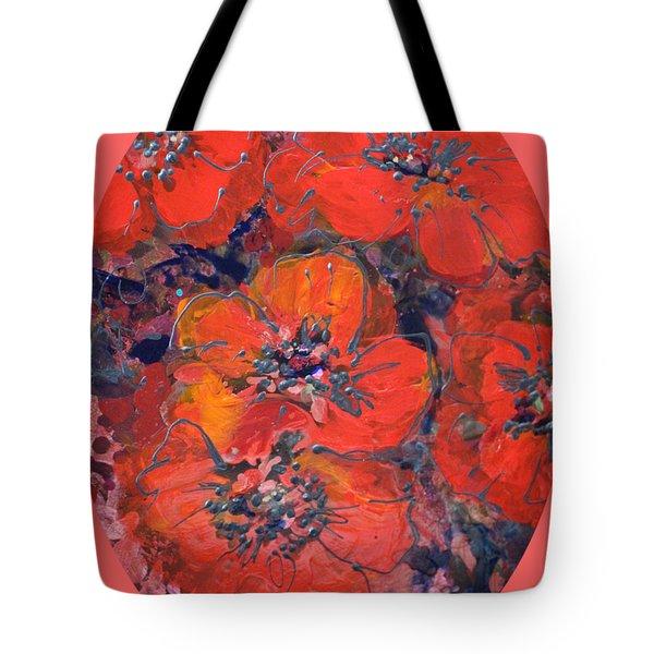 Coral Poppies Tote Bag