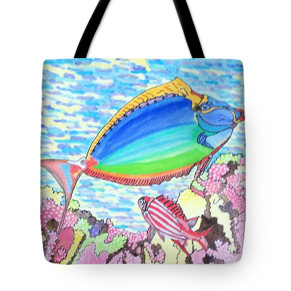 Tote Bag featuring the painting Coral Reef by Connie Valasco
