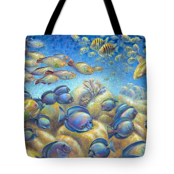 Tote Bag featuring the painting Coral Reef Life Silvers by Nancy Tilles
