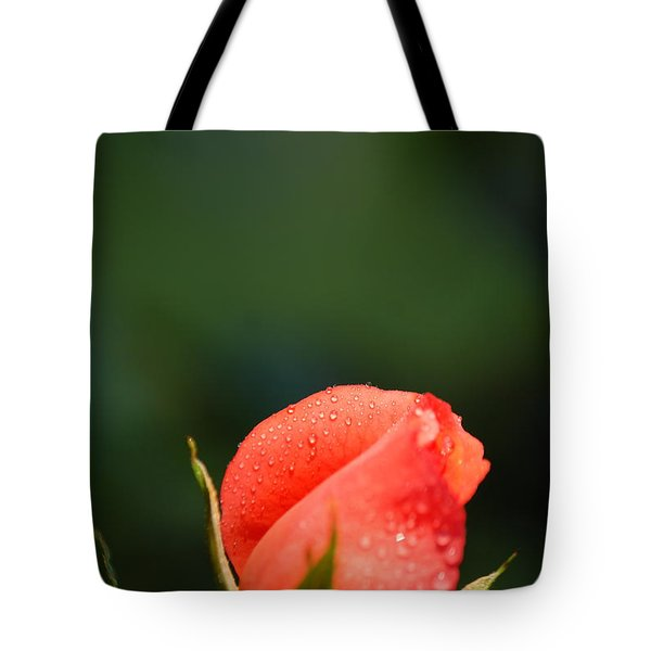 Coral Rose On Green Tote Bag