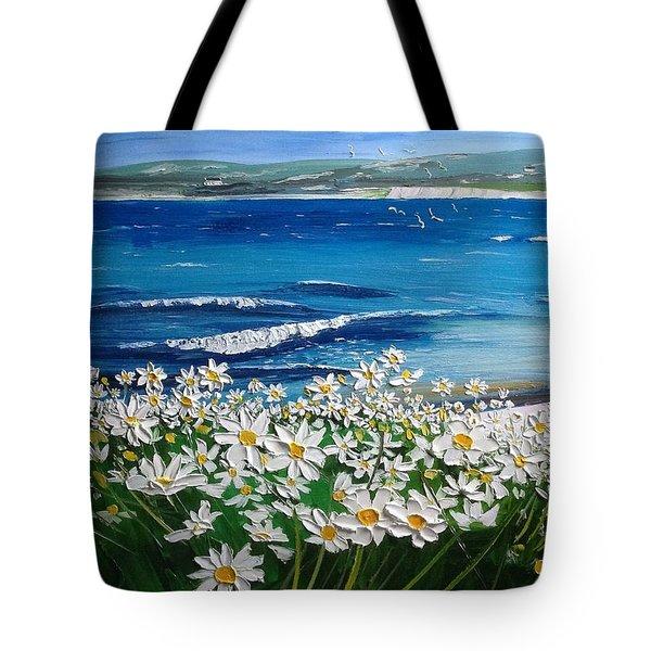 Coral Strand Daisies Connemara Ireland Tote Bag by Diana Shephard