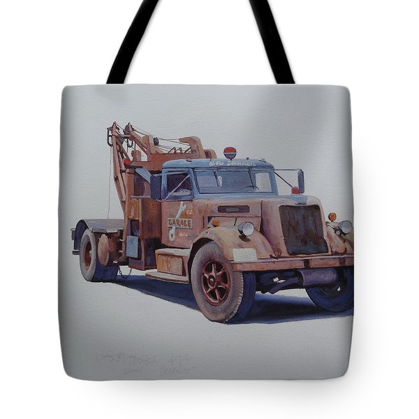 Tote Bag featuring the painting Corbyn Wrecker. by Mike  Jeffries