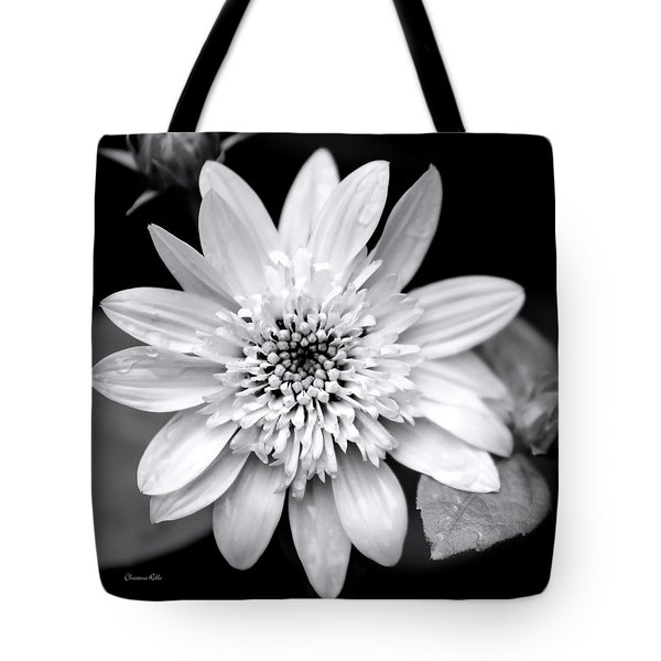 Tote Bag featuring the photograph Coreopsis Flower Black And White by Christina Rollo
