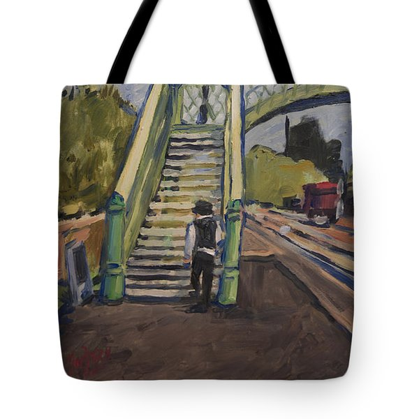 Tote Bag featuring the painting Corfe Castle Railway Station by Nop Briex