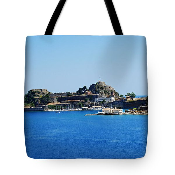 Corfu Fortress On Blue Water Tote Bag