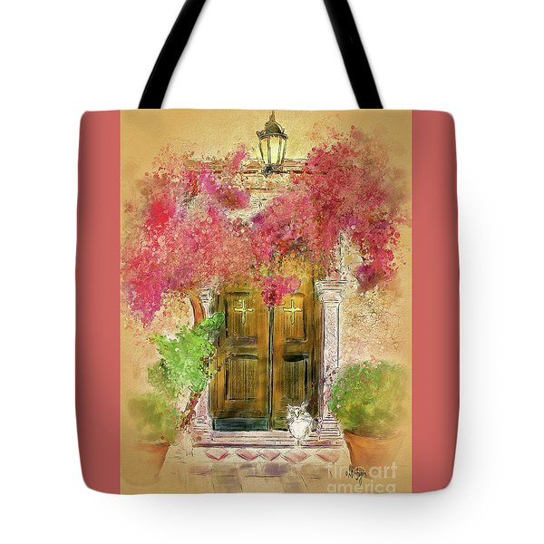 Tote Bag featuring the digital art Corfu Kitty by Lois Bryan