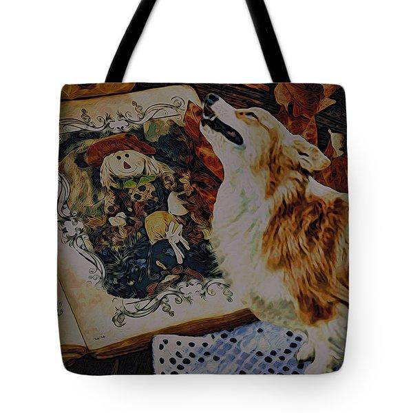 Tote Bag featuring the digital art Corgi Appreciating Art by Kathy Kelly