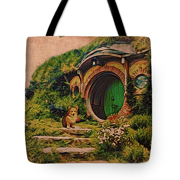 Corgi At Hobbiton Tote Bag